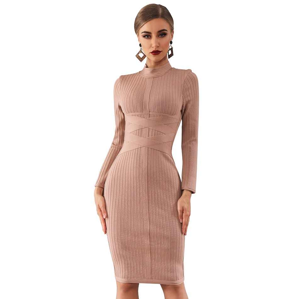 f106b1b152a Adyce 2019 New Spring Bodycon Bandage Dress Women Sexy Nude Long Sleeve Midi  Club Dress Vestidos