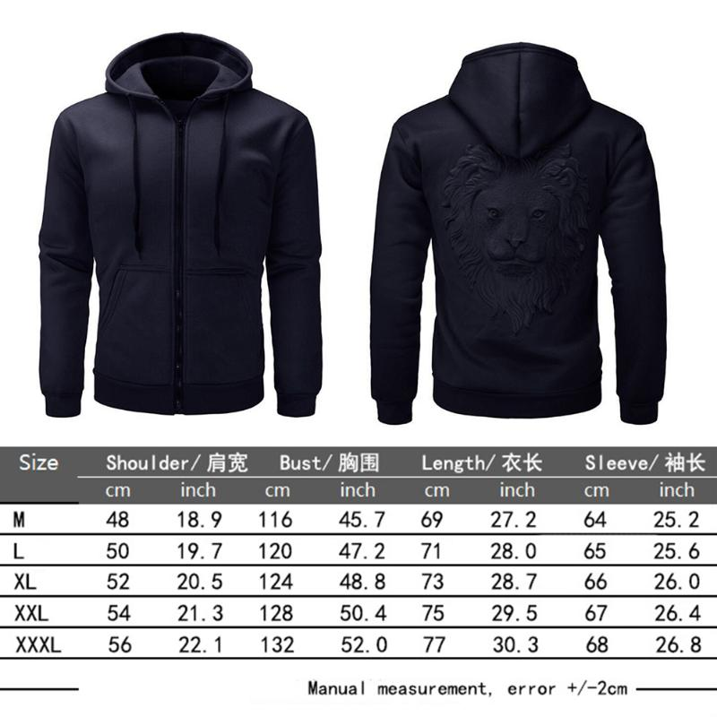 Newest Men Autumn Winter Hoodies Lion Head Printed Solid 4 Colors Zipper Pocket Long Sleeve Cardigan Hoodie Pullover Outwears