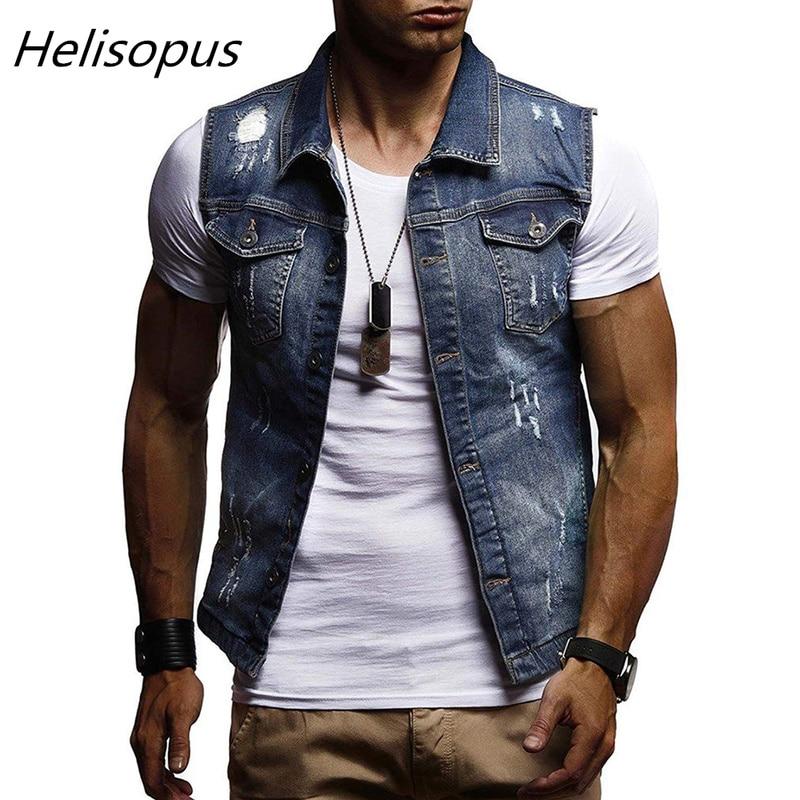 Helisopus 2020 Autumn And Winter New Men's Denim Coat Classic Wash Hole Vest Men's Casual Sleeveless Turn Down Collar Vest