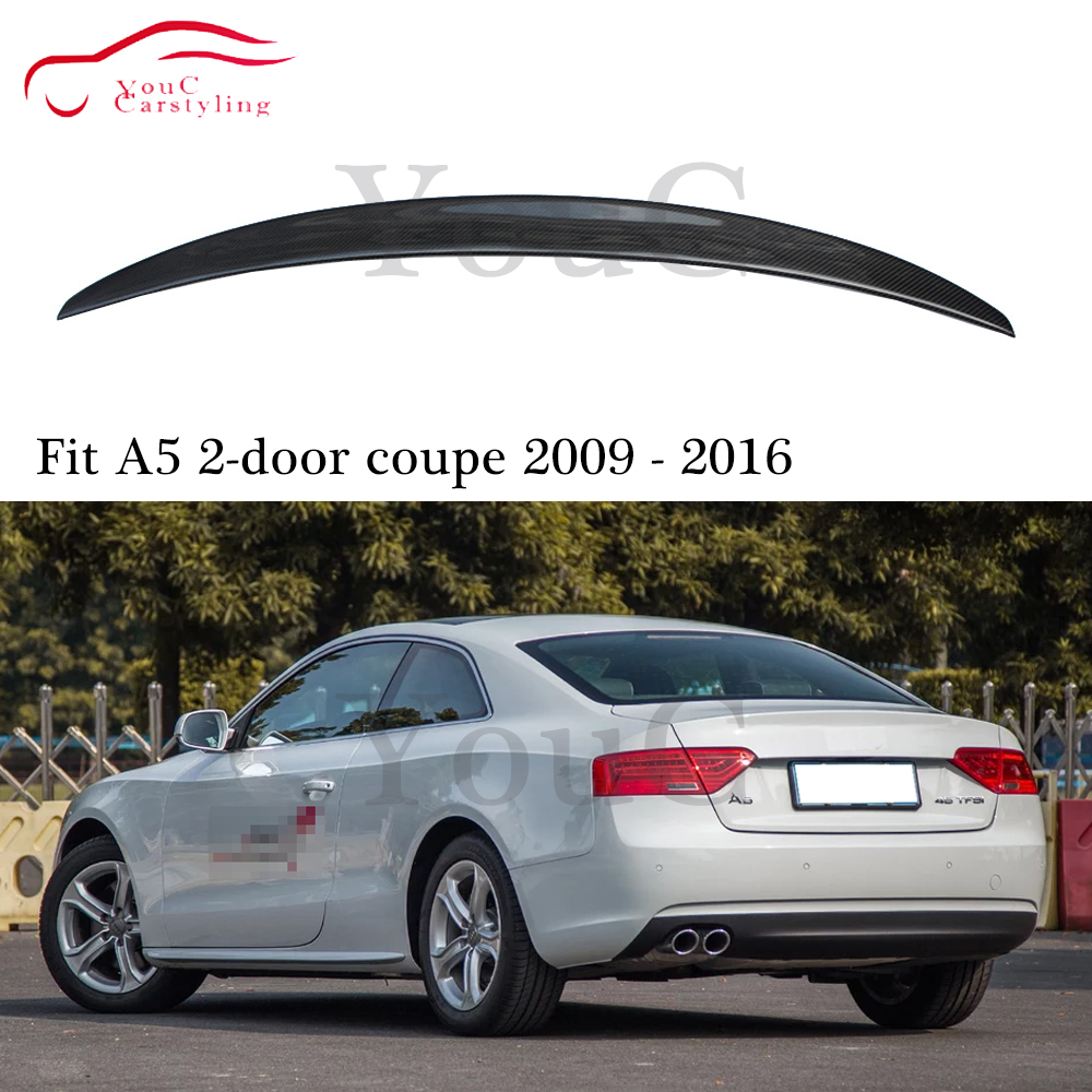 S5 Style Carbon fiber rear spoiler trunk boot tail Lip splitter for Audi A5 2-door coupe Car Styling rear bumper spoiler 09 - 16 image