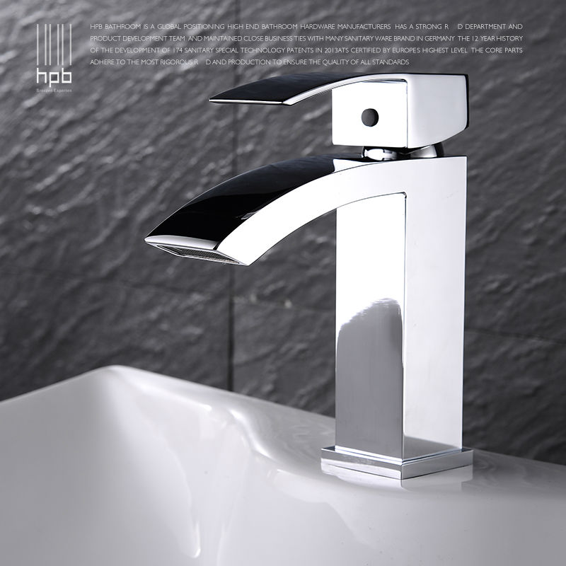 Hpb brass mixer bathroom basin faucet waterfall single - Bathroom sink faucets separate hot and cold ...