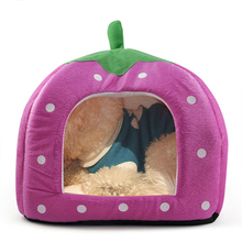 DSHA New Hot Soft Sponge Strawberry Pet Bed House Cushion Basket Pillow Pink – L