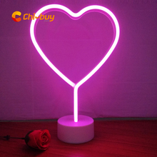 ChiBuy INS Hot LED Neon Heart Table light sign desktop Home Decoration Sign Holiday wedding christmas decoration