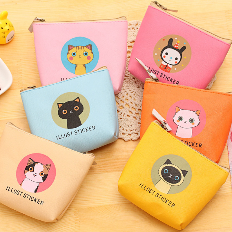 The New Cartoon Cat Waterproof PU Cute Wallet bag Pouch Kids Girl Women Mini Money Bag coin purse Zipper Change Purses Gift waterproof cartoon cute thermal lunch bags wome lnsulated cooler carry storage picnic bag pouch for student kids