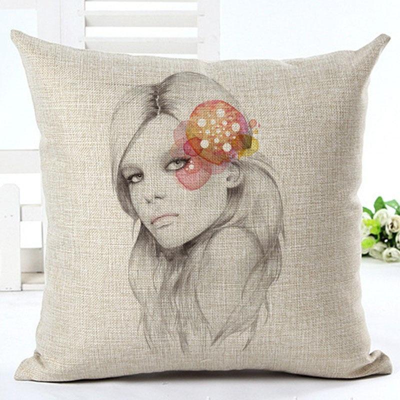 Western Style Home Decor Sofa Throw Pillow Fashion Cushion London girl series Printed Cojines High Quality Cotton Linen Fundas