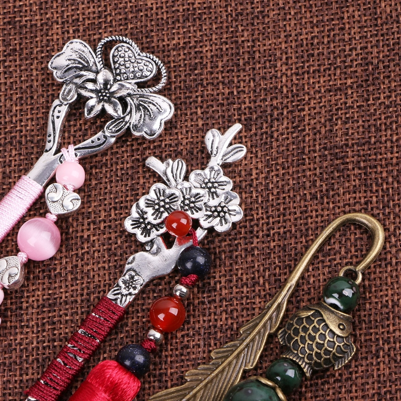 Long Bookmark Gifts Handmade Weave Vintage Hair Clasp Shape Beads Retro Metal Novelty Traditional Chinese Style Tassels Bookmark Office & School Supplies