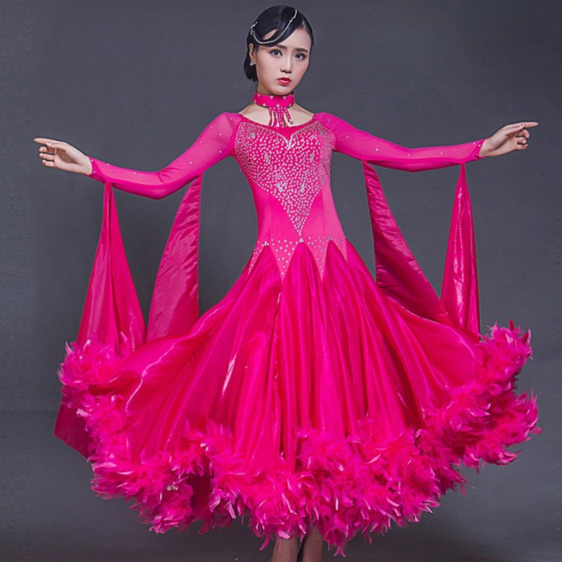 ballroom dance competition dresses waltz ballroom dress standard dance dresses women long dress festival clothing feather pink