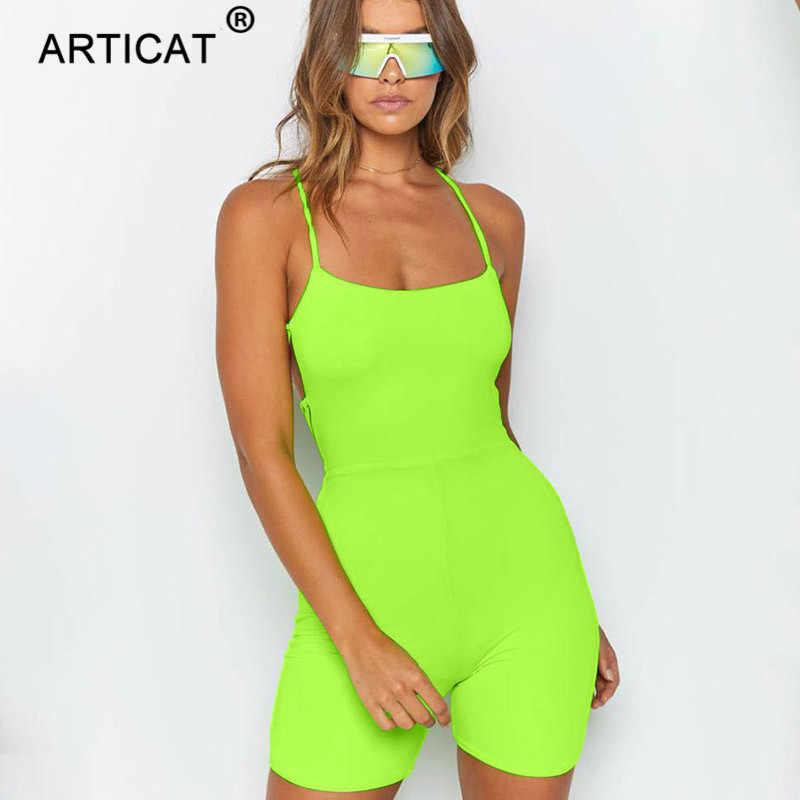 Articat neón verde vendaje espalda descubierta Sexy mono mujer verano Playsuit Lace Up Bodycon mamelucos mujeres playa Casual Club overoles