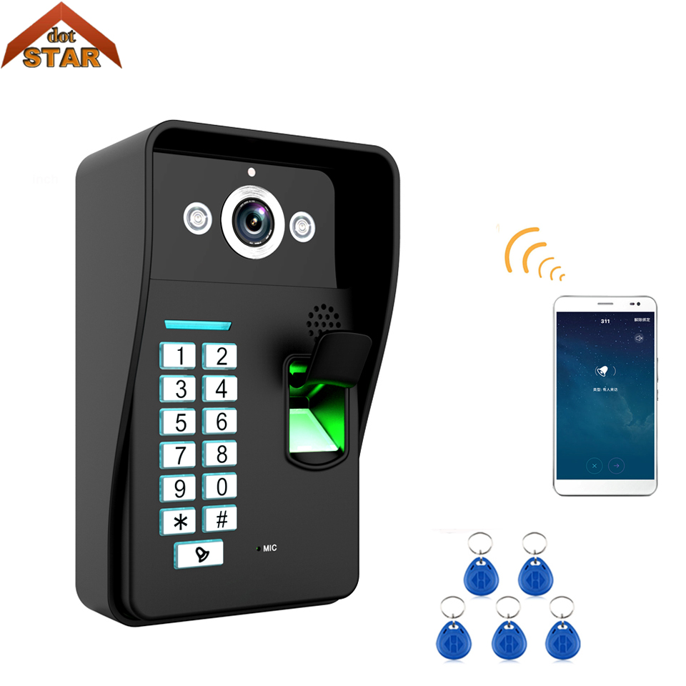 Wired Wifi Fingerprint RFID Card Reader Password Video Door Phone Doorbell Intercom Entry System Door Bell Outdoor Camera 7 inch password id card video door phone home access control system wired video intercome door bell