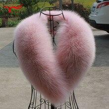 Натуральный Лисий меховой воротник зима розовый Лисий воротник шарф пальто куртка шаль женский воротник меховой воротник