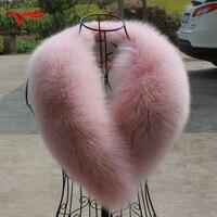 Real fox fur collar winter new pink fox collar scarf coat jacket shawl women female collar furry fur collar