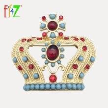 Fj4z Новая модная матовая золотистая брошь из сплава с красными