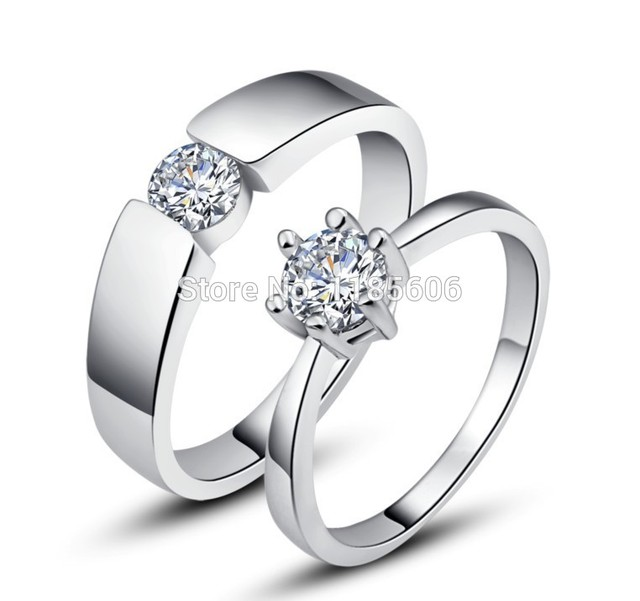 8f858ac470 925 Sterling Silver ring for woman Hearts and Arrows Zircon couple ring  silver ring eternal vows mens Tail ring