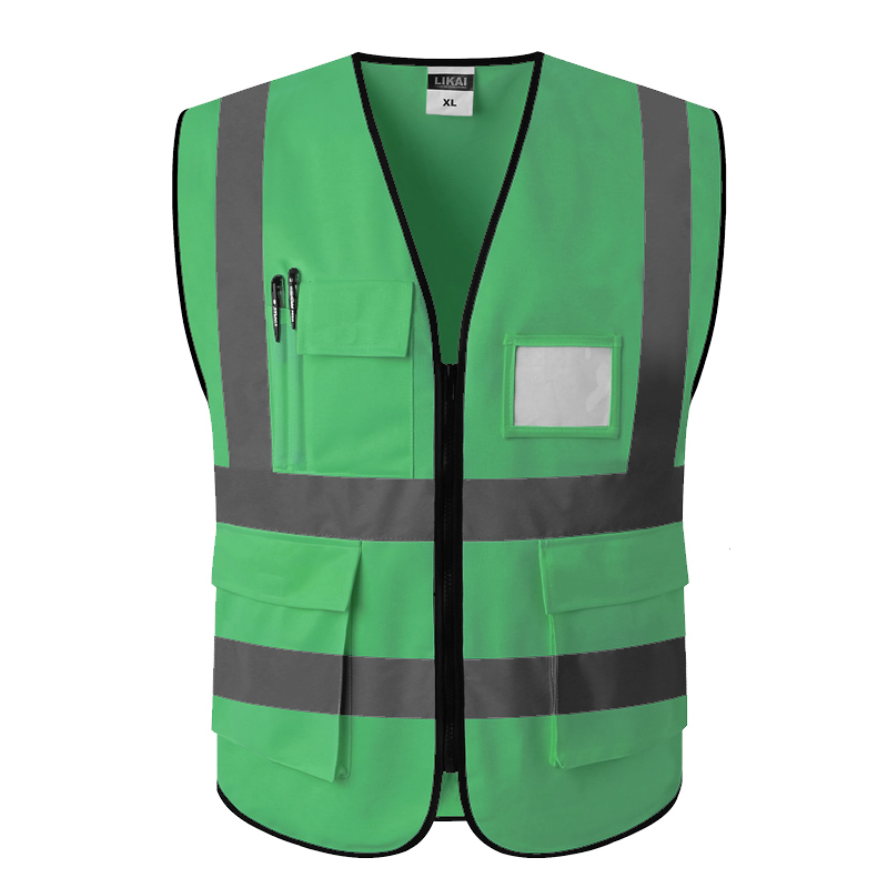 SPARDWEAR Hi vis vest workwear clothing safety reflective vest safety vest reflective logo printing spardwear hi vis clothing workwear green reflective vest safety gilet with pockets free shipping