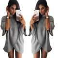 2016 New Ladies Autumn Winter O-neck Tops Fashion Bat Sleeve Tops Grey Women T-Shirt
