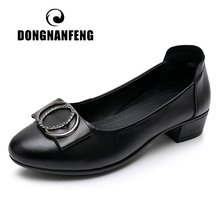 DONGNANFENG Women Ladies Female Mother Soft Genuine Leather Shoes Flats loafers Slip On Bling Moccasins Plus Size 42 43 XFF-786