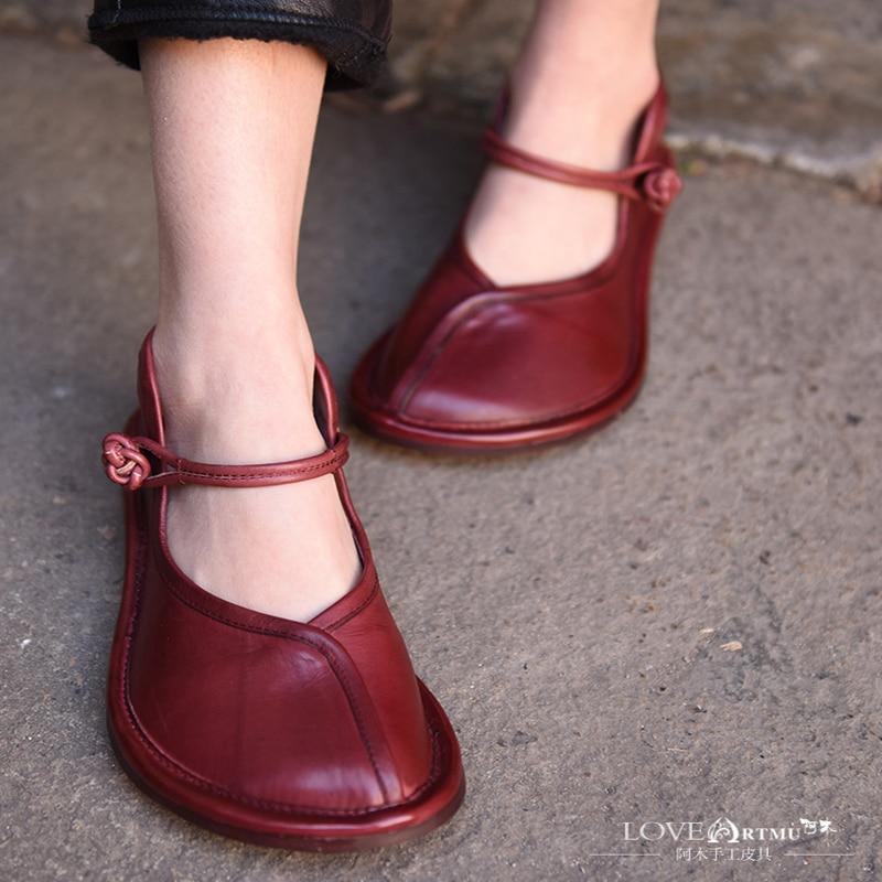 Artmu الأصلي الربيع نمط جديد الرجعية كبيرة اصبع القدم النساء حذاء جلد طبيعي حزام مشبك مريحة اليدوية حذاء مسطح FL131 8-في أحذية نسائية مسطحة من أحذية على  مجموعة 3