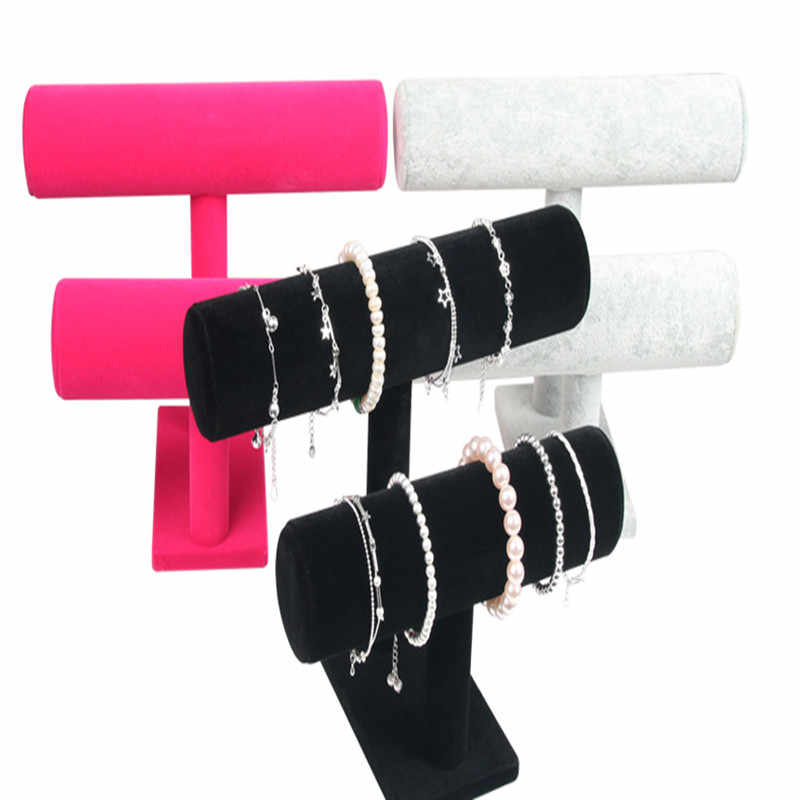 1 stücke Hohe Qualität Vintage PU Leder/Samt Armband Kette Uhr T-Bar Rack Schmuck Organizer Hard Display stehen Halter