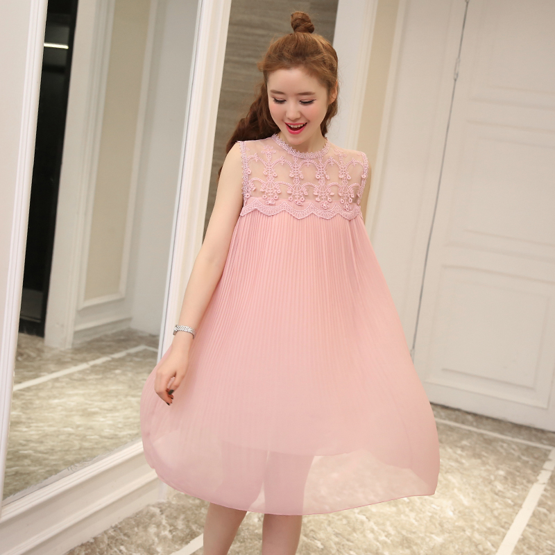 New Hooked Hollow Lace Stitching Chiffon Pleated Pregnant Women Dress Korean Style Fashionable Medium Long Skirt