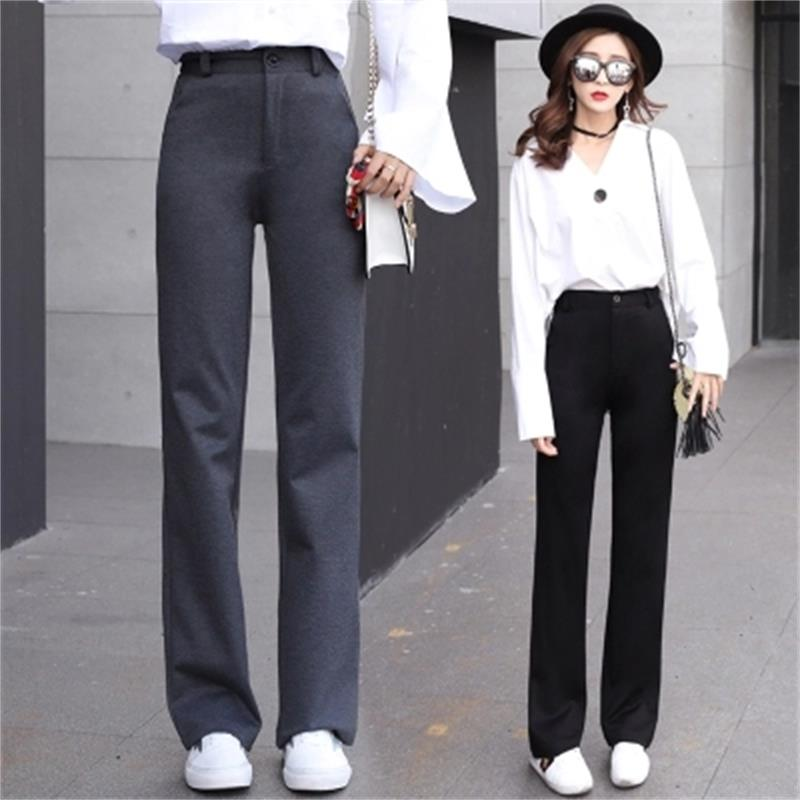 2018 Autumn and winter high waist   wide     leg     pants   female Korean loose loose drag   pants   was thin straight   pants   wild casual