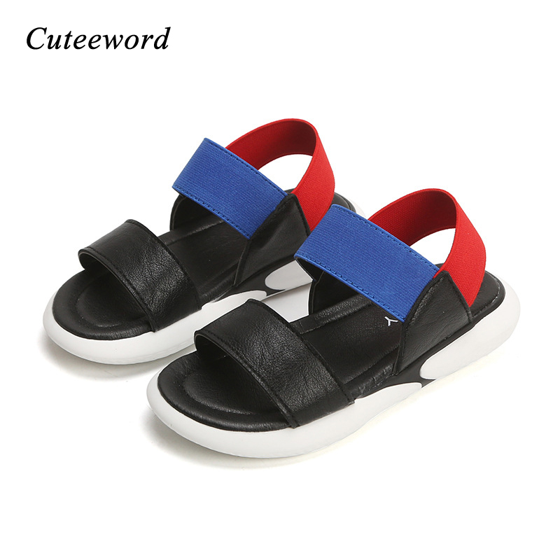 2019 New Children Sandals Summer Casual Kids Beach Shoes Boys Girls Sandals Non slip Soft Bottom Baby Elastic Sandal White Black in Sandals from Mother Kids