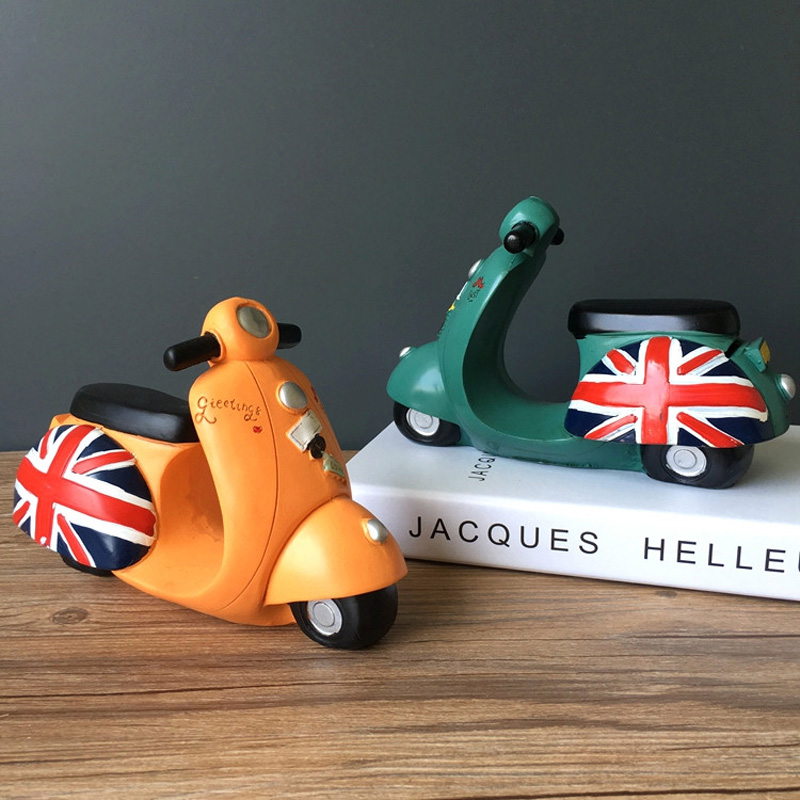 Colered Toy Money : Vintage britain flag motorcycle toys cute money save l