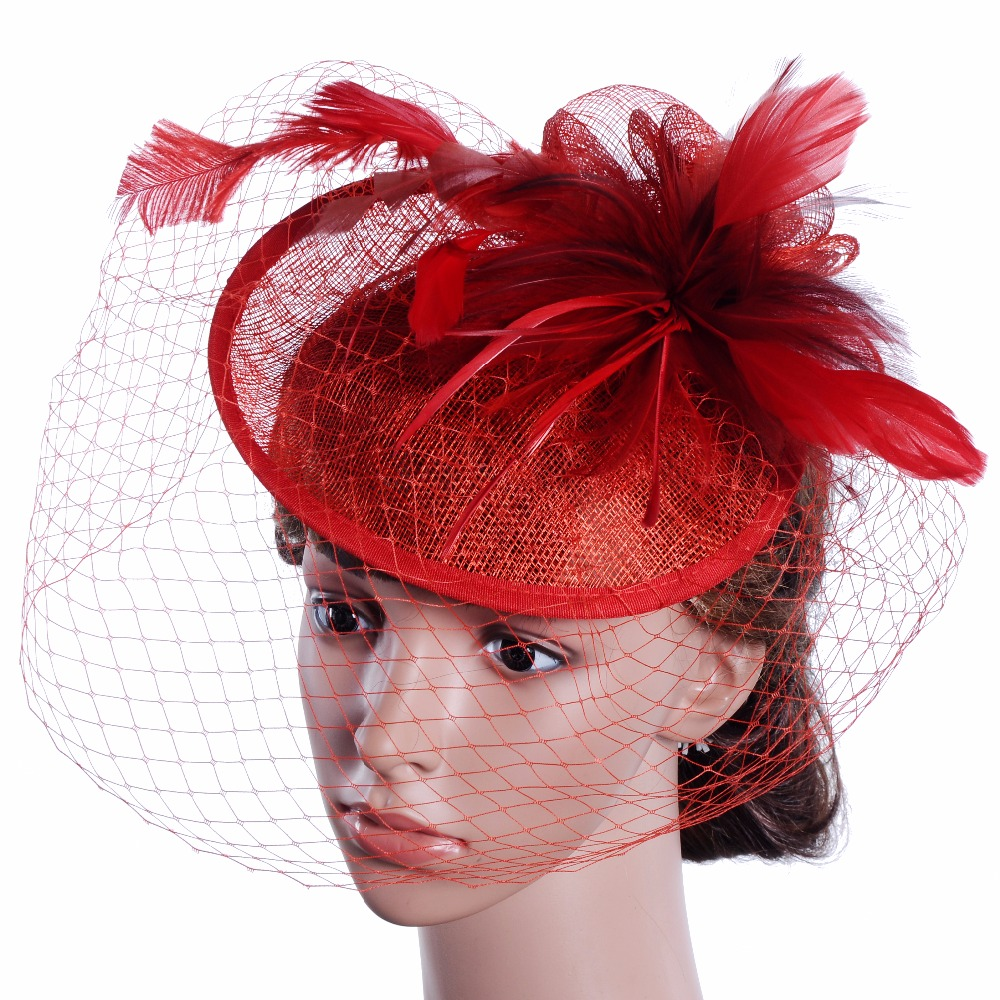 Vintage Elegant Lady Floral Veil Hats White Feather Evening Party Wedding  Hats Fascinator Victorian Women Red Feather Mesh Hat-in Fedoras from  Apparel ... 1ab2df8ef56