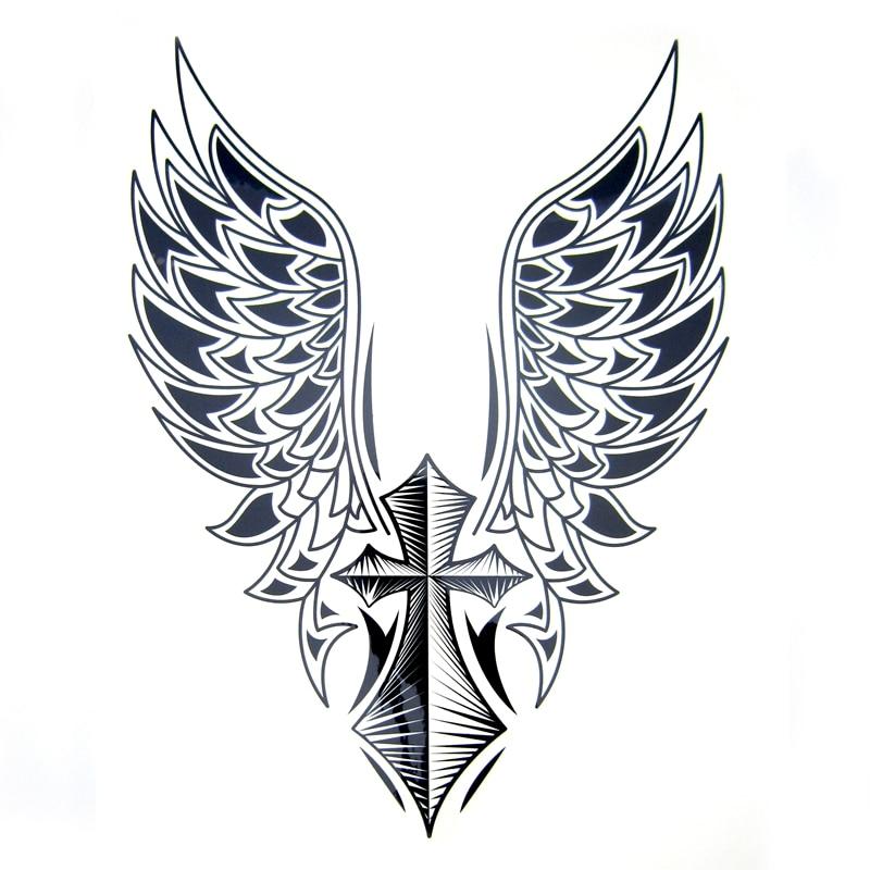1pcs Big Cool Mens Cross Wing Tattoos,Beautiful Arm Back Cross Wings Waterproof  Large Temporary Tattoo Stickers For Men 30*21cm line art