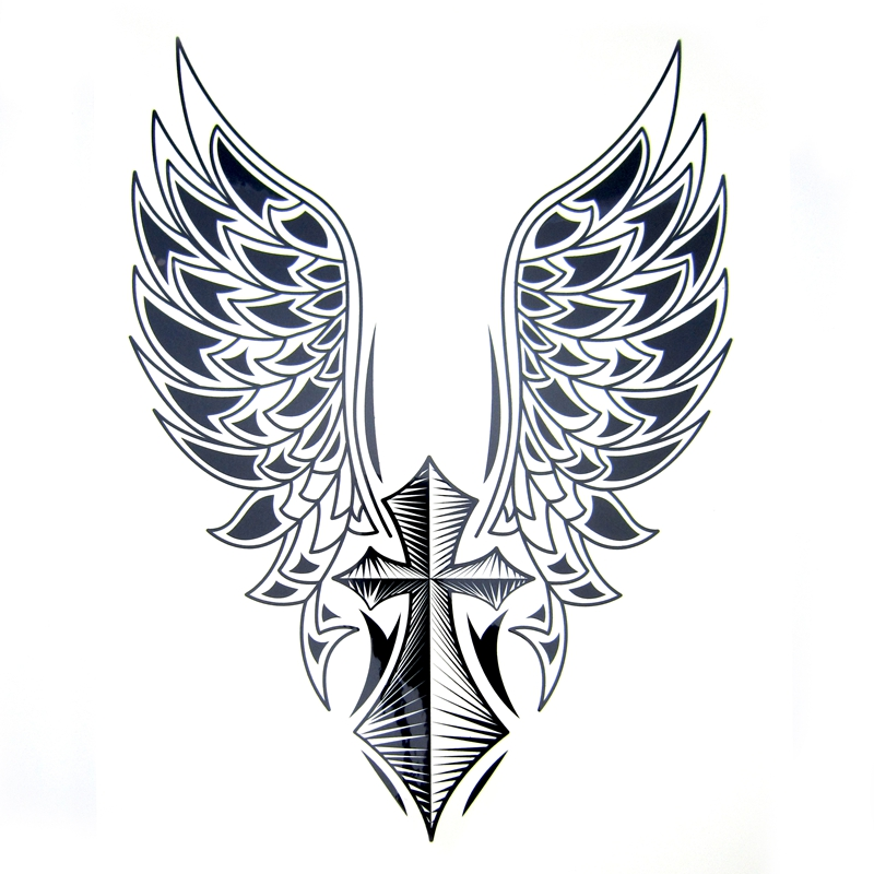 1pcs Big Cool Mens Cross Wing Tattoos Beautiful Arm Back Cross Wings Waterproof Large Temporary Tattoo Stickers For Men 30 21cm Sticker Screen Tattoo Airbrushsticker Dots Aliexpress
