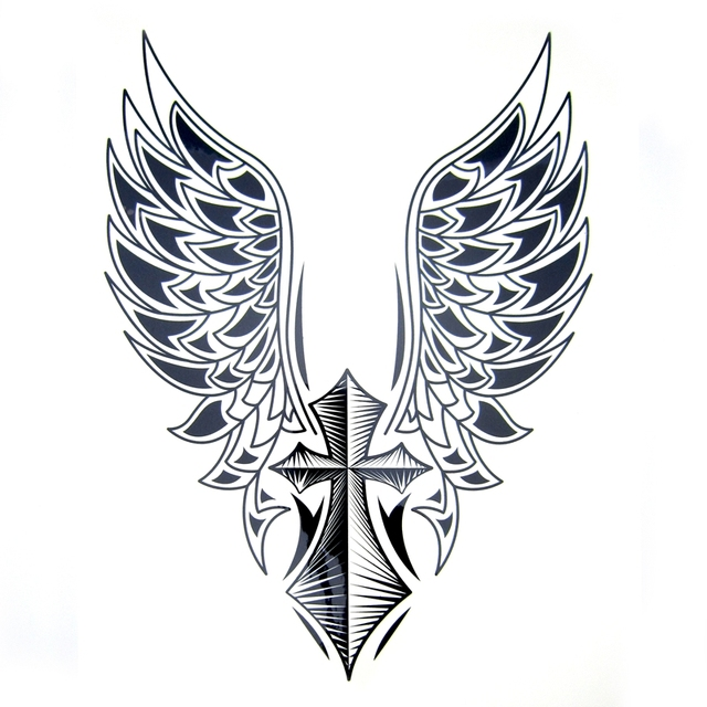 1pcs Big Cool Mens Cross Wing Tattoosbeautiful Arm Back Cross Wings