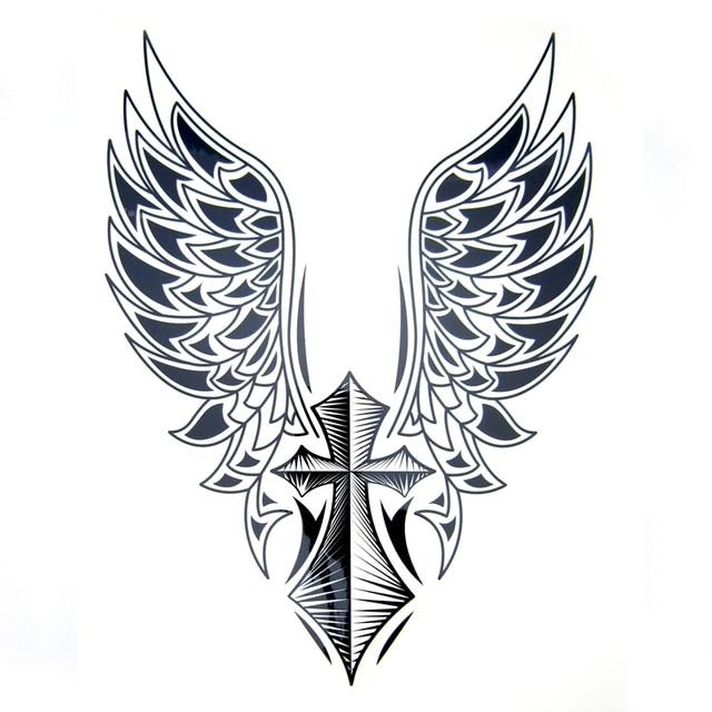 1pcs Big Cool Mens Cross Wing TattoosBeautiful Arm Back Wings Waterproof Large Temporary