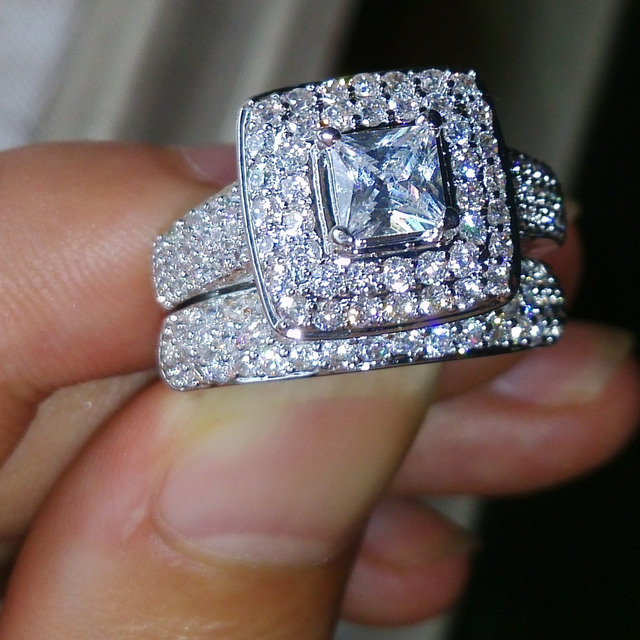Choucong Wieck Nice Jewelry 134pcs Shining Aaa Cz Zirconia 14kt White Gold Filled Wedding Ring Set