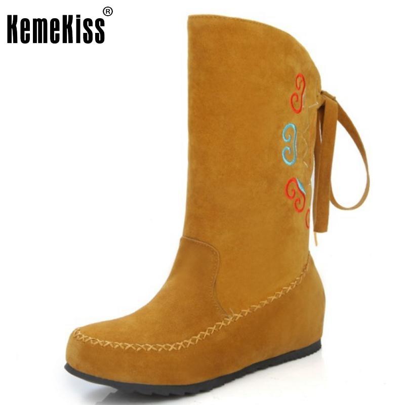 ФОТО Woman Round Toe Flat Half Boots Women Fashion Printed Lace Up Mid Calf Shoes Spring Autumn Botas Feminina Size 34-49
