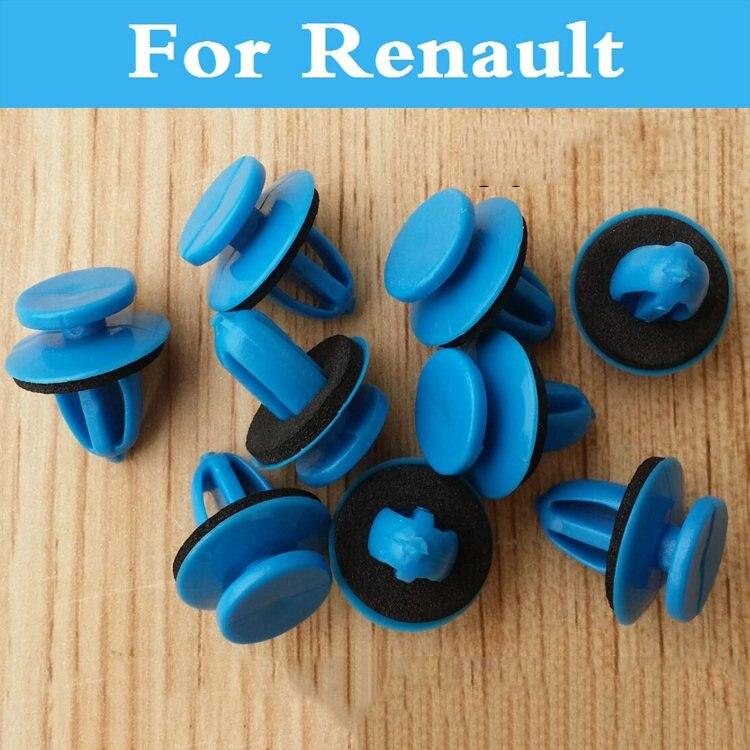100pcs Car Bumper Fender Plastic Rivets Blue Fasteners For Renault Twizy Vel Satis Symbol Talisman Twingo Wind Zoe Sandero Rs