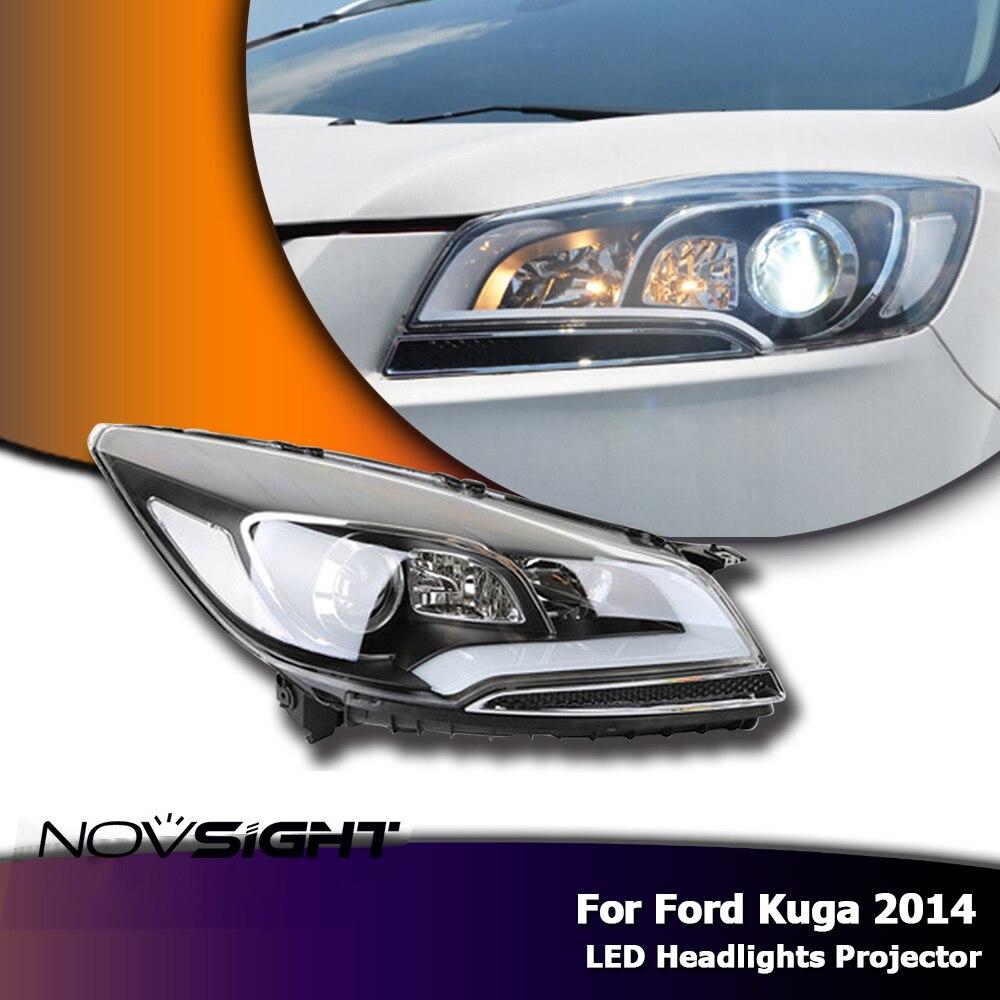 NOVSIGHT For Ford Kuga 2014 DRL LED Headlights Daytime Running Light Projector Xenon Lens Fog Lamp DRL Headlamp Assembly