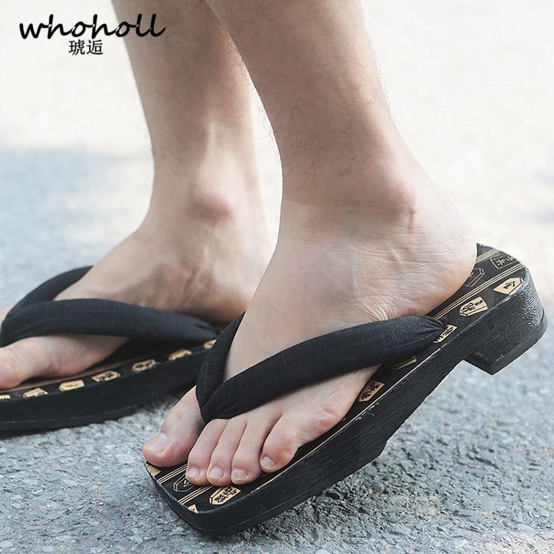 WHOHOLL Original Geta Anime Man Sandals Japanese clogs Kimono Shoes Wooden Slippers Cosplay Costumes Men Flip-flops