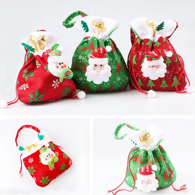 Christmas Gift Bags.Us 7 99 3pcs Christmas Candy Bags Christmas Gift Holders Santa Claus Holder Bag Home Party Christmas Decoration Supplies Kids Gifts In Stockings