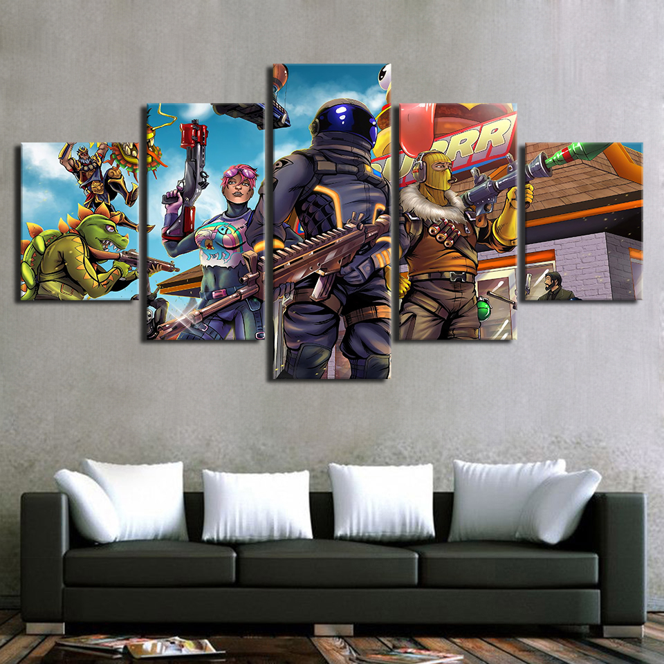 Modular Canvas Poster For Living Room Home Decoration 5 Pieces Game Cartoon Figure Painting Pictures Modern