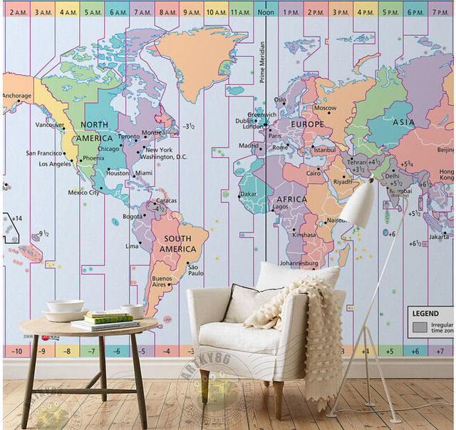 Custom papel DE parede infantil  world time zone map for children     Custom papel DE parede infantil  world time zone map for children room sofa  TV wall