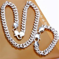 Free Shipping Wholesale Fashion Jewelry Set Shrimp Buckle 10MM 2 Piece Set 925 Sterling Silver Necklace