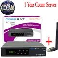 Cccam Cline Para 1 Ano Freesat V7 Receptor de Satélite Combo DVB-S2 ATSC Apoio YouTubo Receptor + 1 PC USB WiFi europa Cccam Servidor