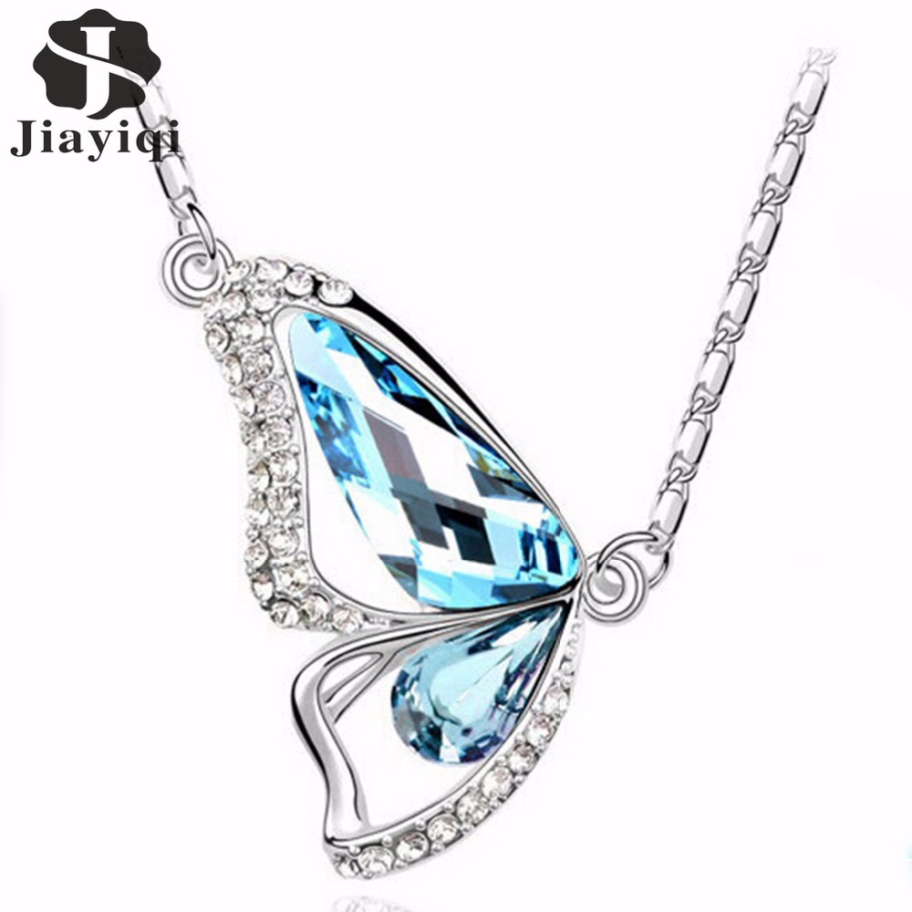 2017 Hot Sale Cubic Zircon Crystal Silver color Jewelry Butterfly Pendant Statement Jewelry Women Fine Jewelry Charming Style