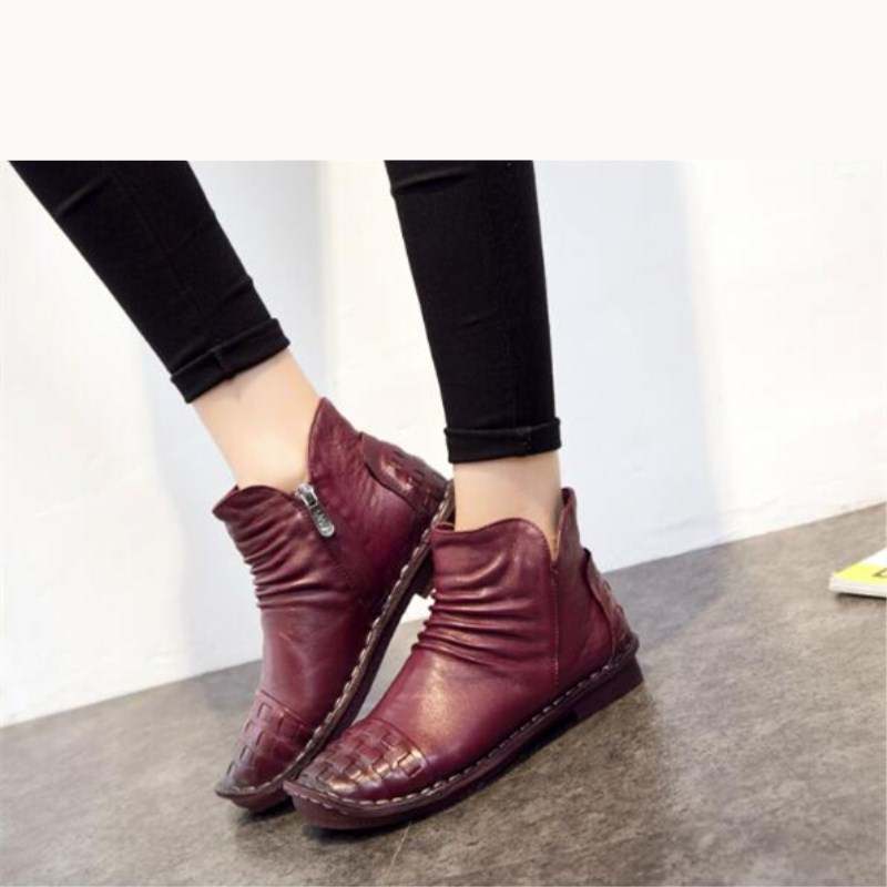 Fashion leather cowhide women 39 s shoes large size 35 40 low with wild warm flat women 39 s casual boots 2019 spring and autumn new in Ankle Boots from Shoes