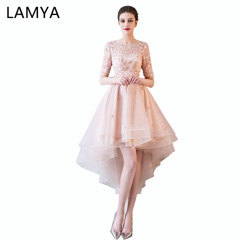 LAMYA Pink Appliques Front Back Long Tail Banquet Prom Dresses Short Sleeve Formal Party Gown Elegant Plus Size vestido de noiva