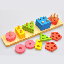 Colorful Wooden Column Shapes Stacking Toys Preschool Educational Geometric Board Blocks Building Blocks Baby Funny Toy Gift