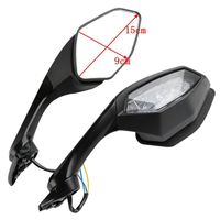 Motorcycle Rearview Side Mirrors LED Turn Signal Light  3