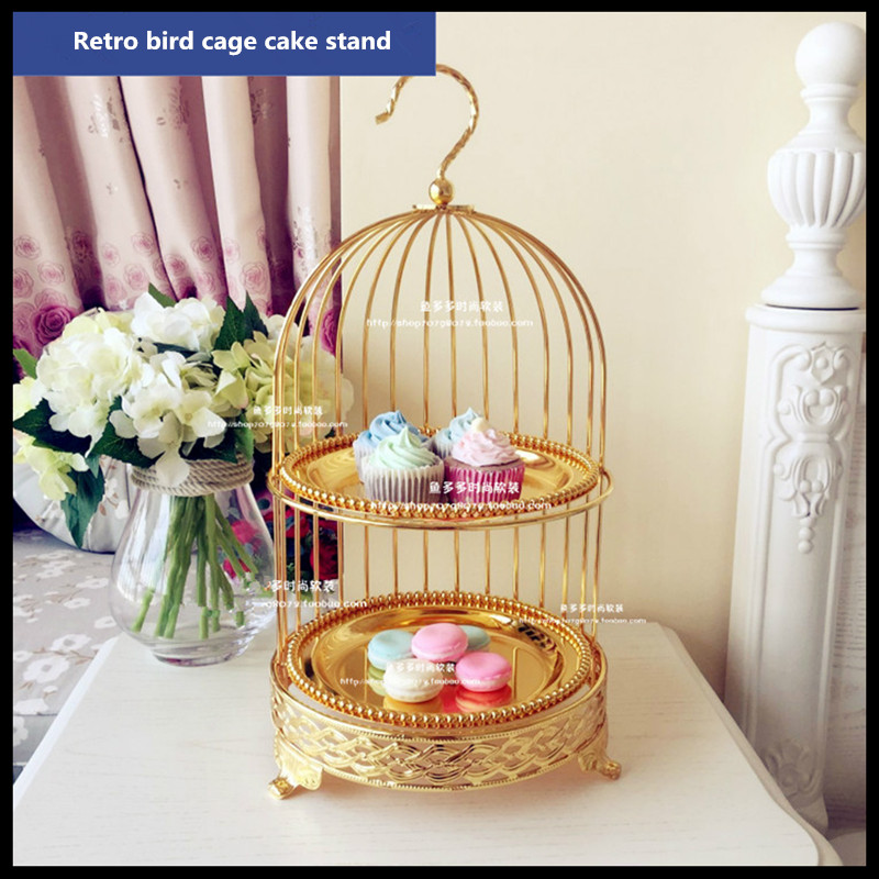 1 PCS  Golden bird-cage cake stand for afternoon tea and dessert pan
