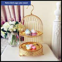 1 PCS Goldene vogel-käfig kuchen stehen für nachmittag tee und dessert dessert kuchen pan