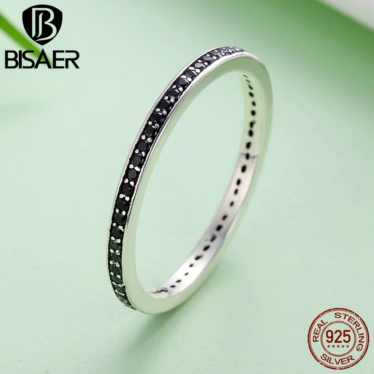 Genuine 925 Sterling Silver Stackable Ring Glittering Droplet Clear CZ Finger Rings for Women Wedding Engagement Jewelry GXR114