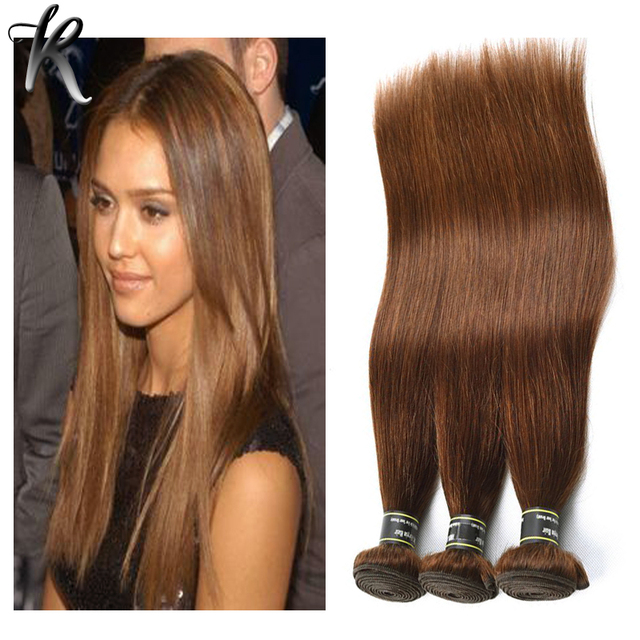 Indian Virgin Hair Straight 4 Pcs Color 4 Light Chocolate Brown